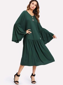 Tiered Trumpet Sleeve Drop Waist Dress