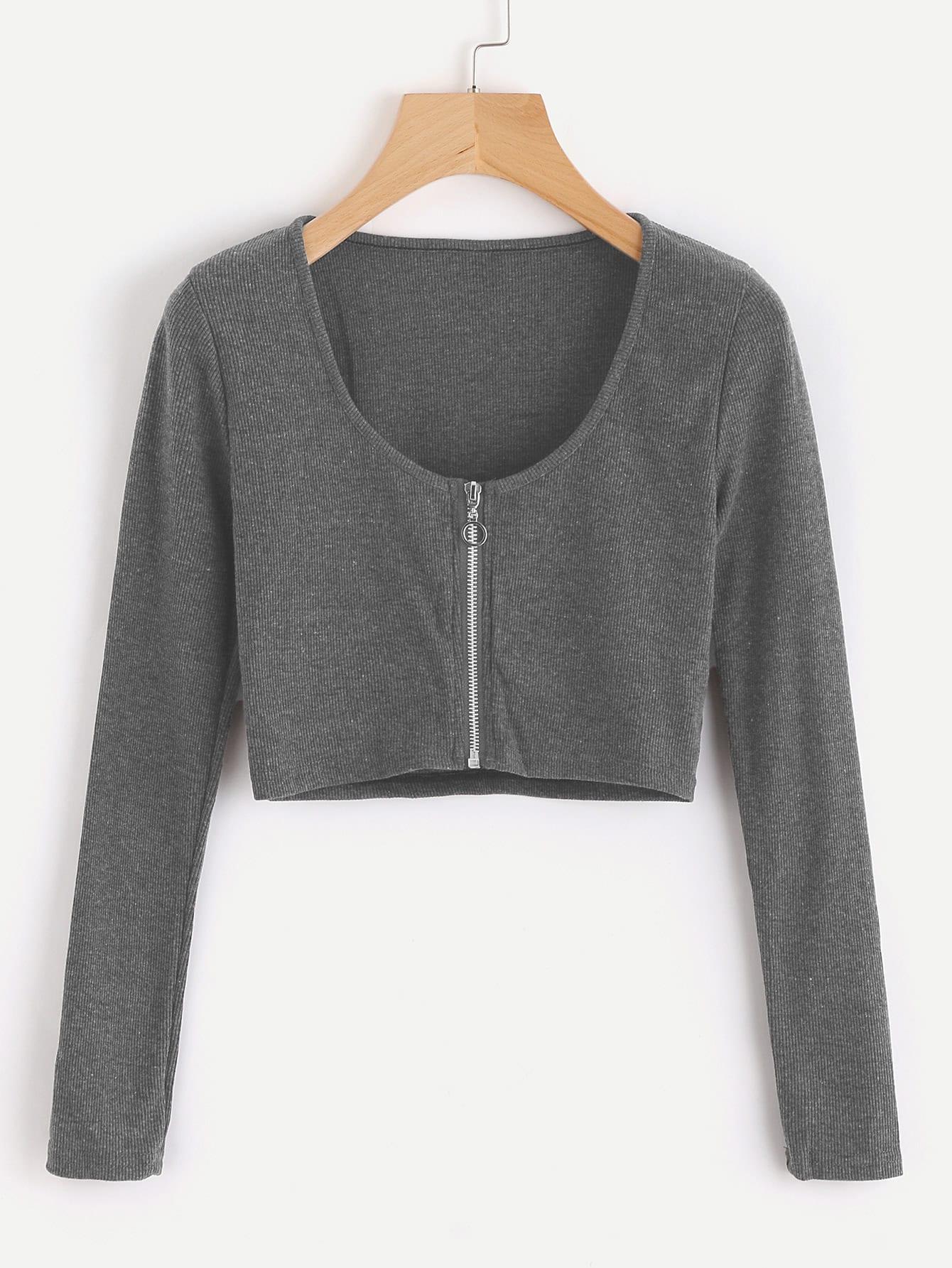 Zip Up Crop Knit Top black choker sleeveless crop top