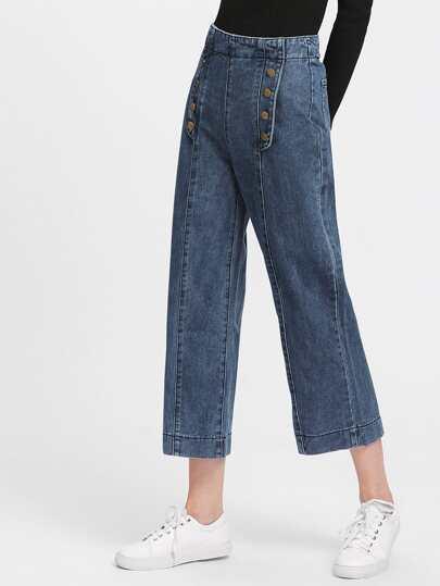 Button Front Zip Back Wide Leg Jeans