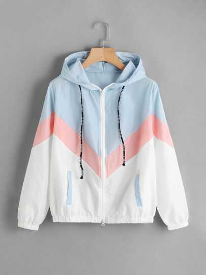 Color Block Chevron Zip Up Jacket