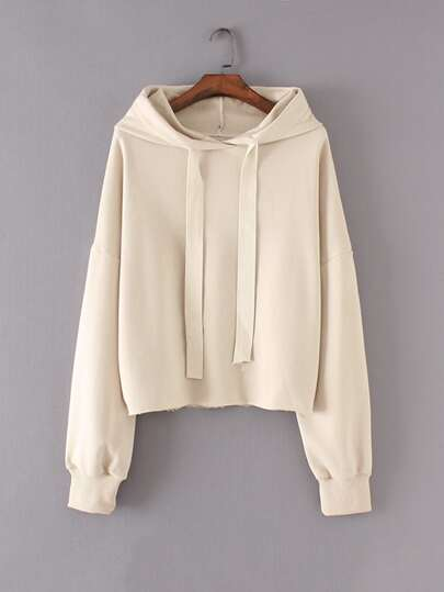 Raw Hem Drop Shoulder Hoodie