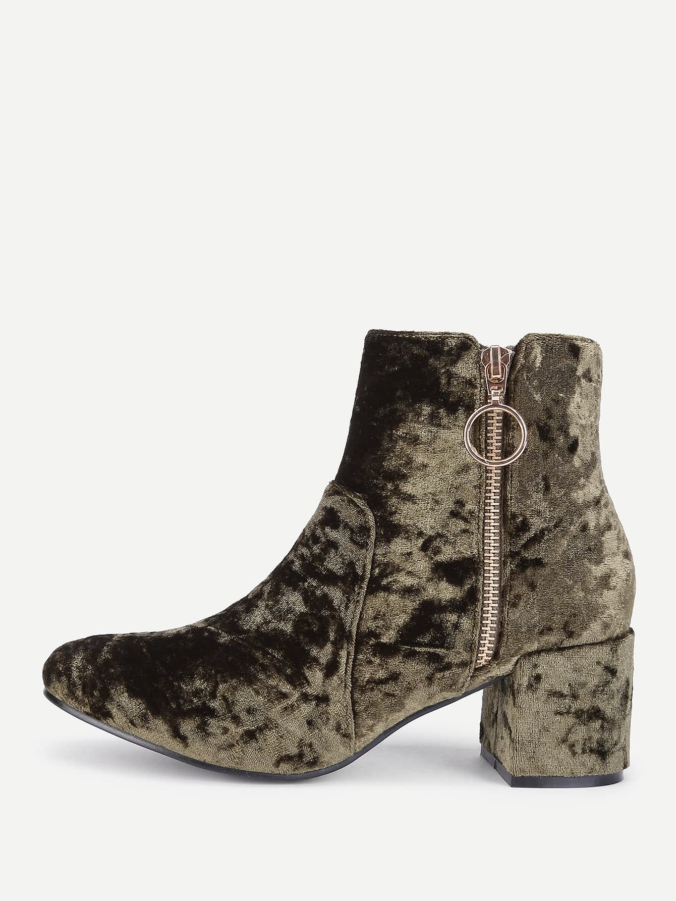 Side Zipper Block Heeled Ankle Boots