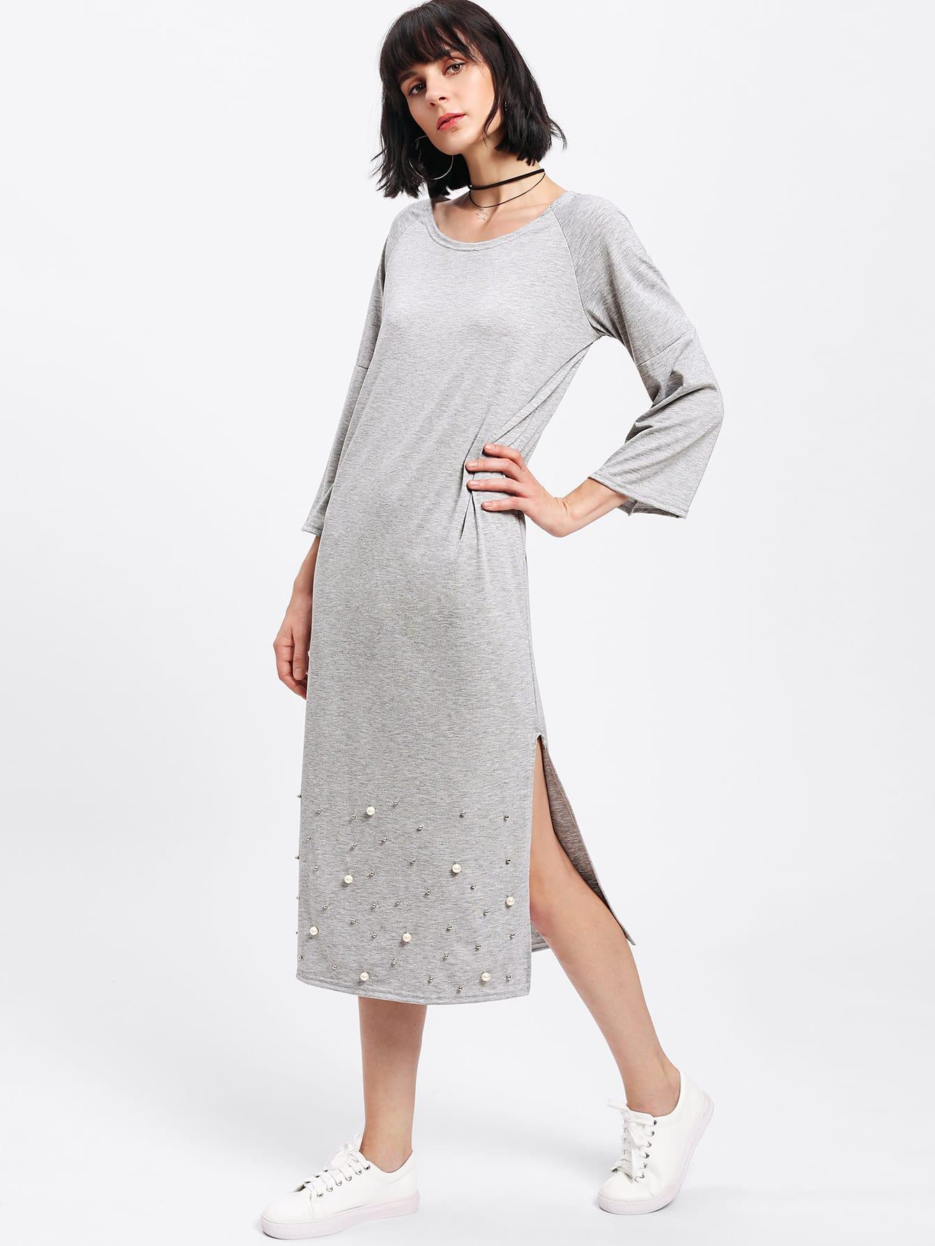 Beaded Detail Split Side Dress dress171110132