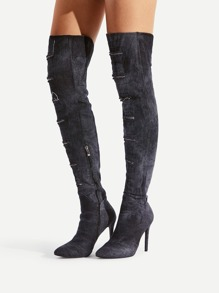 Ripped Design Stiletto Denim Boots