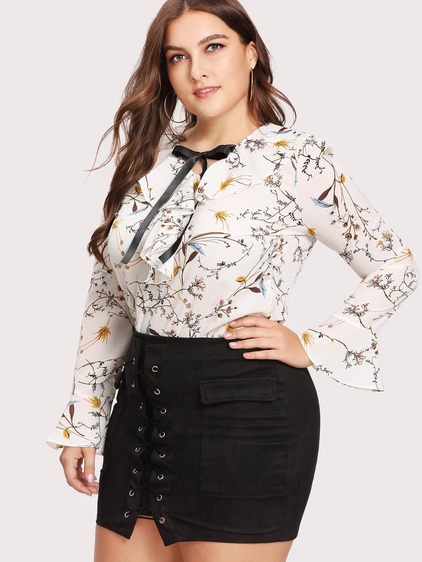 Plus Ribbon Tie Neck Botanical Print Frill Blouse