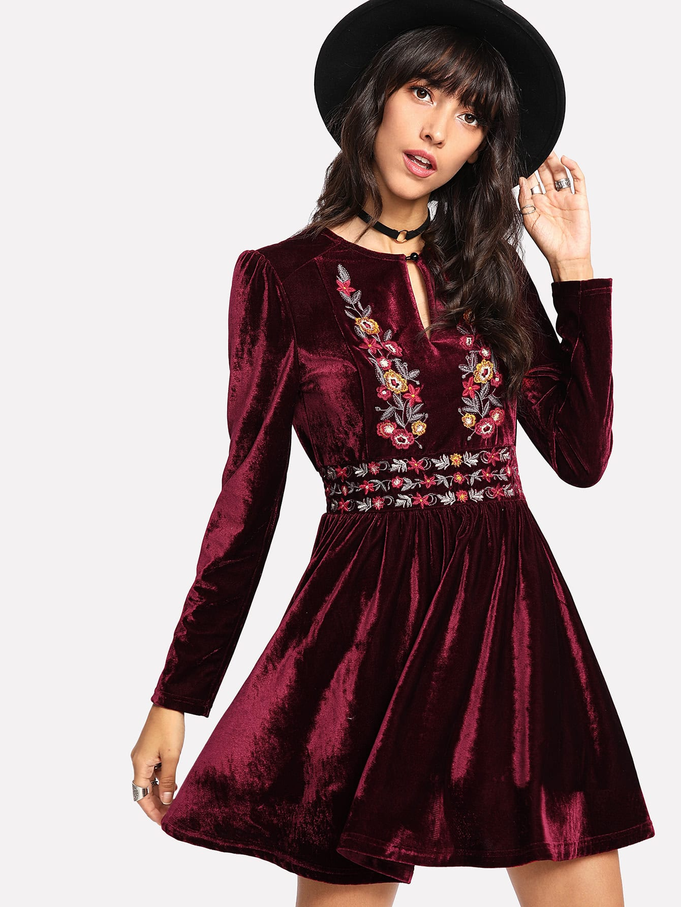 Купить Модное бархатное платье с вышивкой, Camila, SheIn
