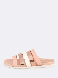 Metallic Mixed Strappy Sandals ROSE