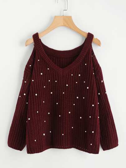 Deep V Neck Cold Shoulder Pearl Beaded Sweater