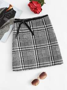 Bow Tie Waist Houndstooth Skirt