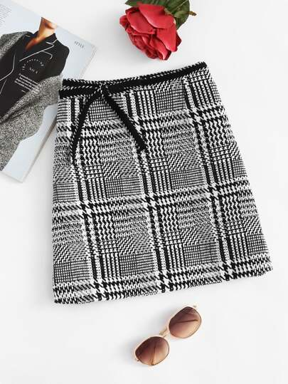 Bow Tie Waist Houndstooth Skirt