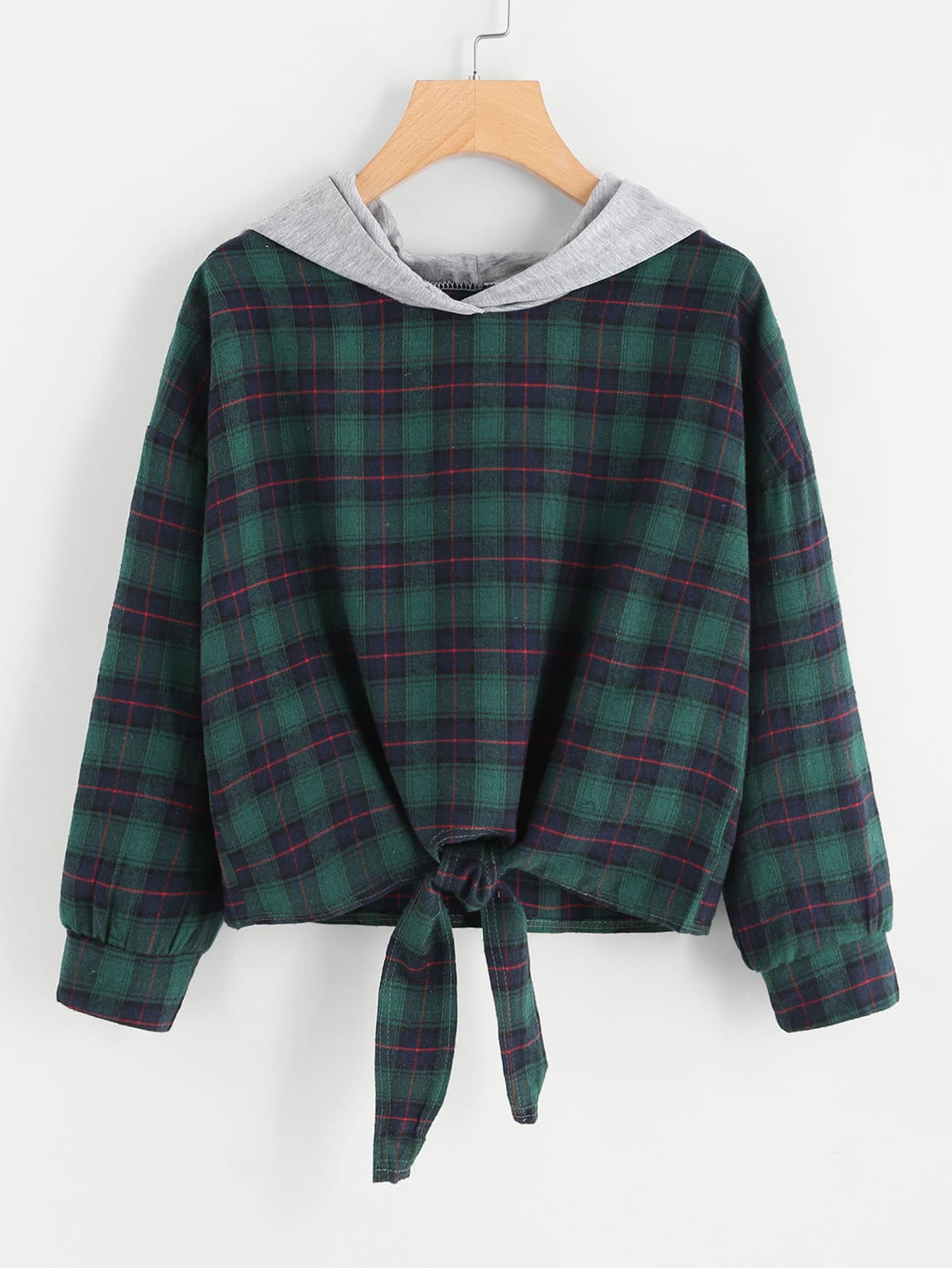 Knot Front Checked Hooded Sweatshirt цена