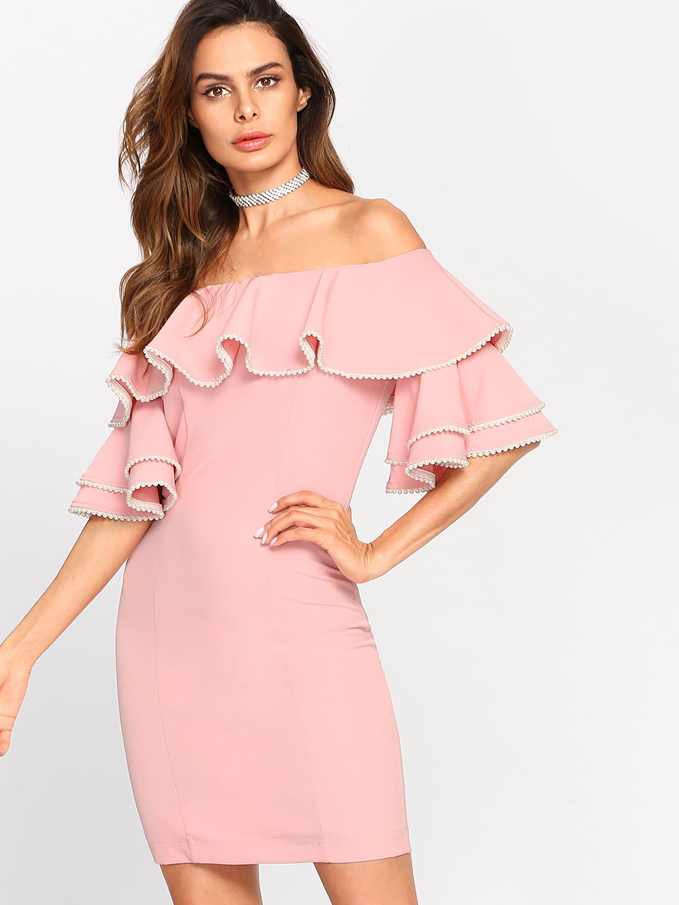 Tiered Trumpet Sleeve Flounce Bardot Dress