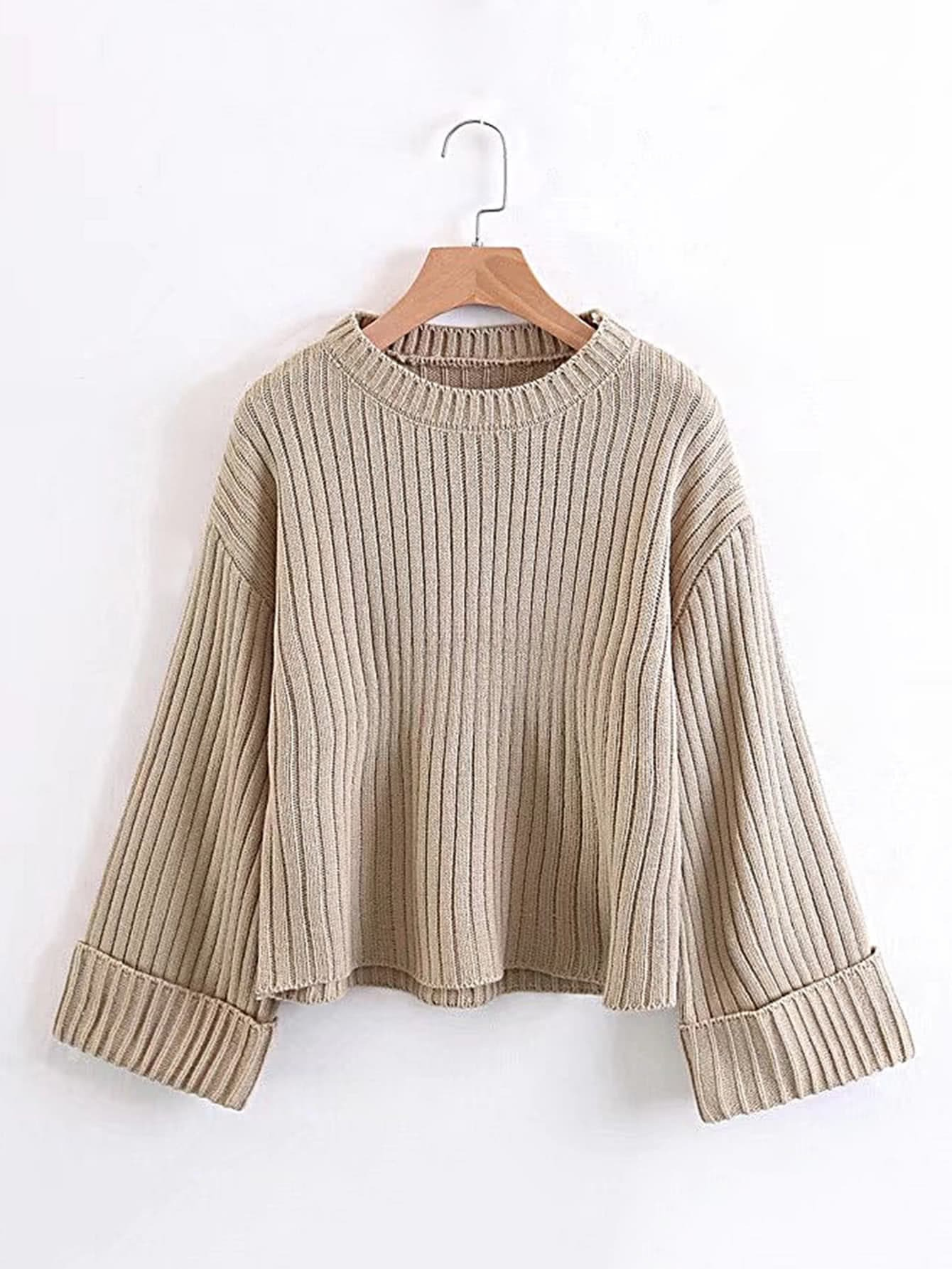 Rib Knit Cuffed Sweater rkni171108203