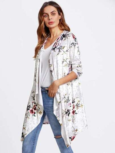 Flower Print Crushed Velvet Waterfall Coat