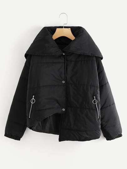 Asymmetrical Hem Lapel Padded Coat