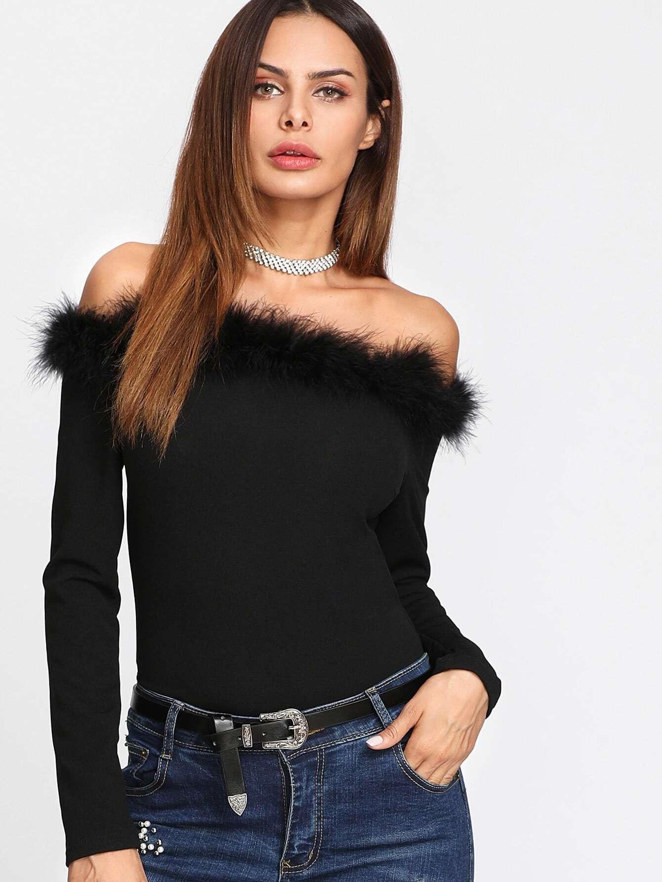 Contrast Faux Fur Trim Bardot Bodysuit drop shoulder contrast faux fur sleeve sweatshirt