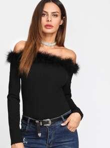 Contrast Faux Fur Trim Bardot Bodysuit