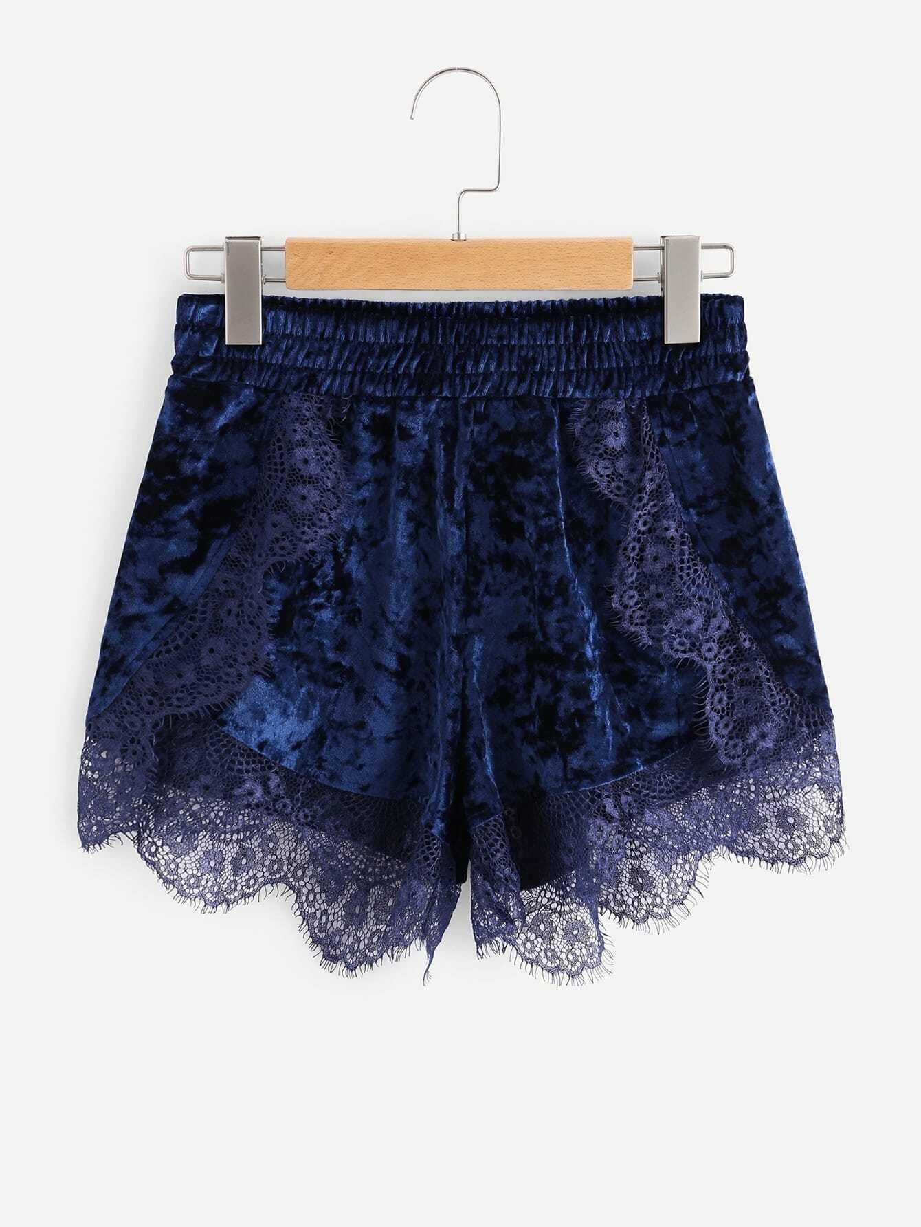Eyelash Lace Scalloped Trim Velvet Shorts