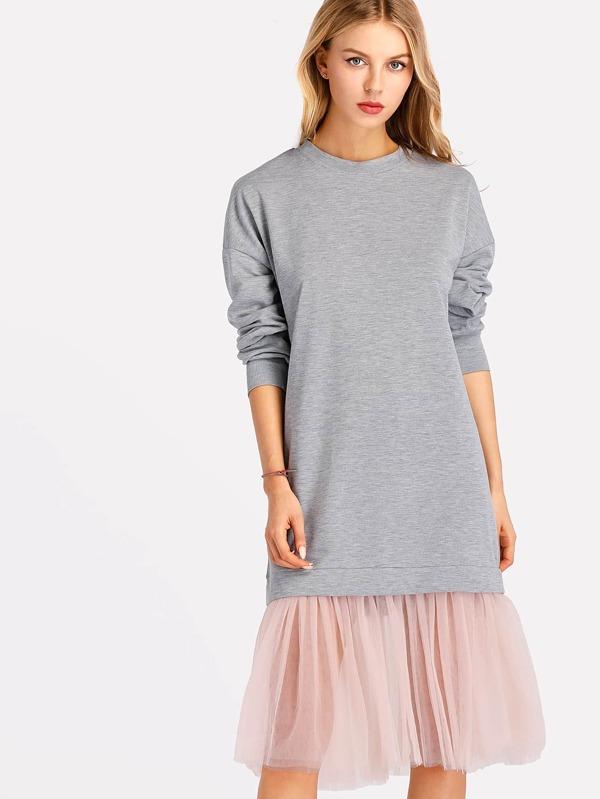 Платье-свитшот с оборкой | Shein