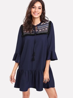 Tassel Tie Jacquard Yoke Flounce Dress