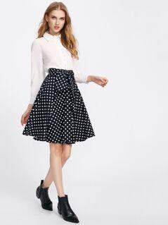Self Belted Front Polka Dot Circle Skirt