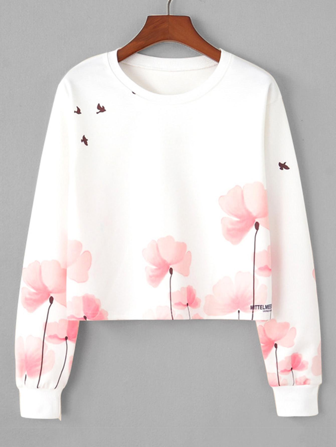 Floral Print Sweatshirt sweatsh171106371