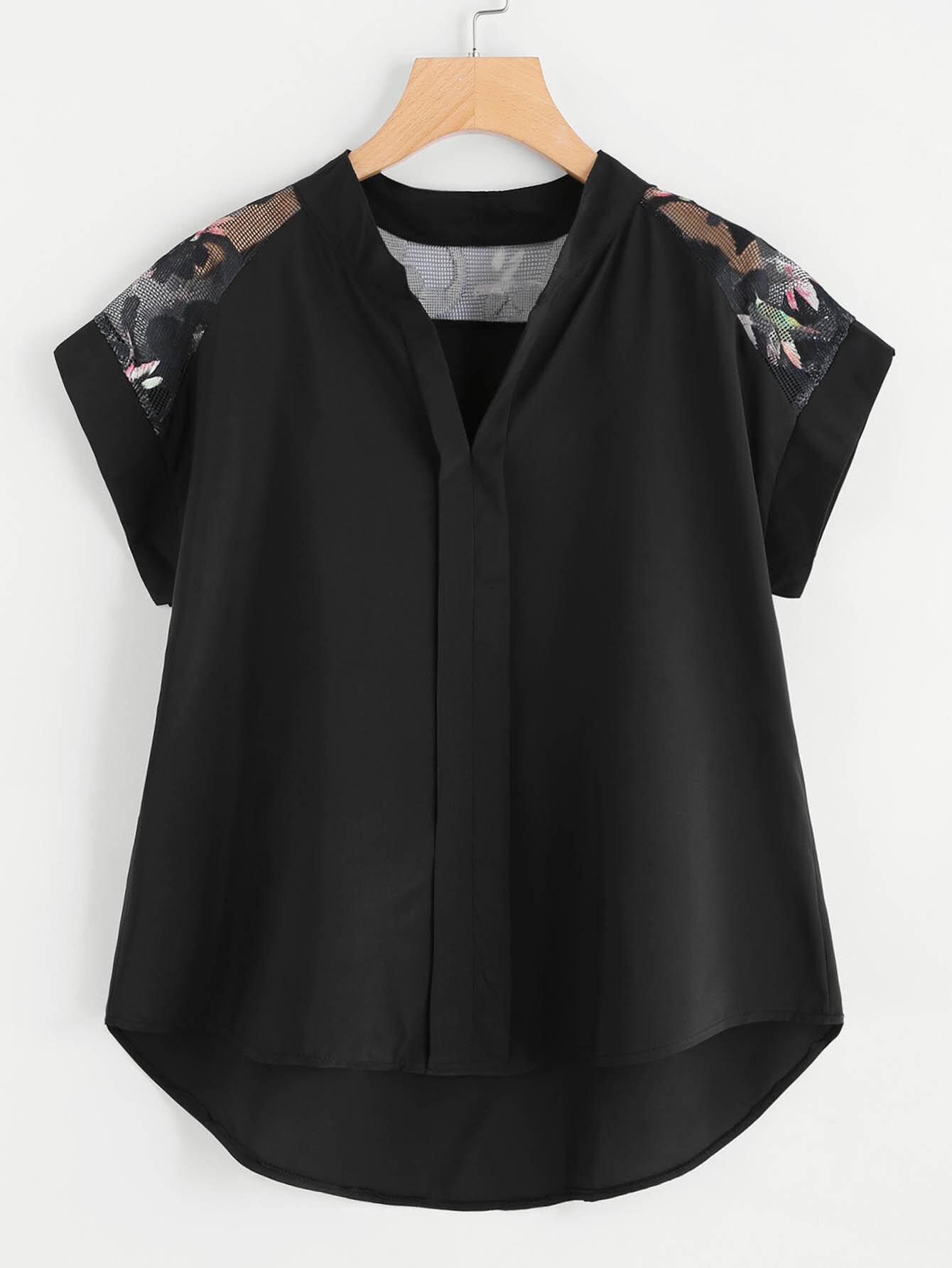Bluse mit ausgehöhlter Spitze und abfallendem Saum