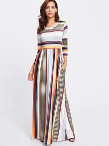 Vestito lungo a strisce