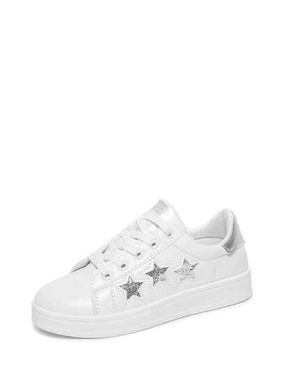 Star Pattern Lace Up PU Sneakers