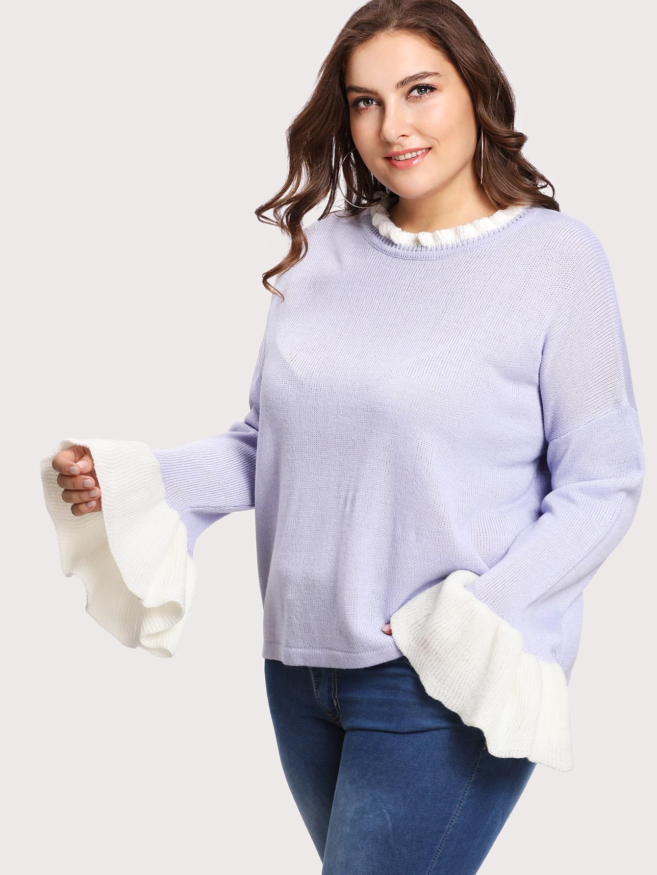 Contrast Ruffle Cuff Drop Shoulder Jumper two tone drop shoulder sweatshirt