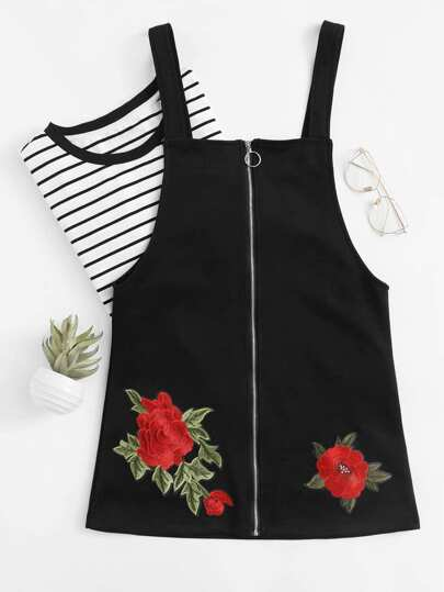 Rose Embroidered Applique Zip Up Dress