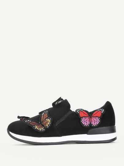 Butterfly Embroidery Slip On Sneakers