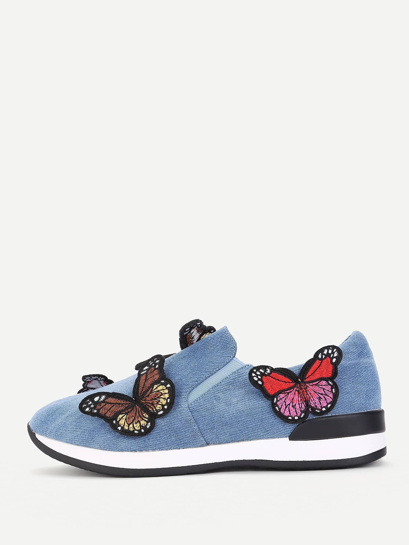 Image of Butterfly Embroidery Slip On Sneakers