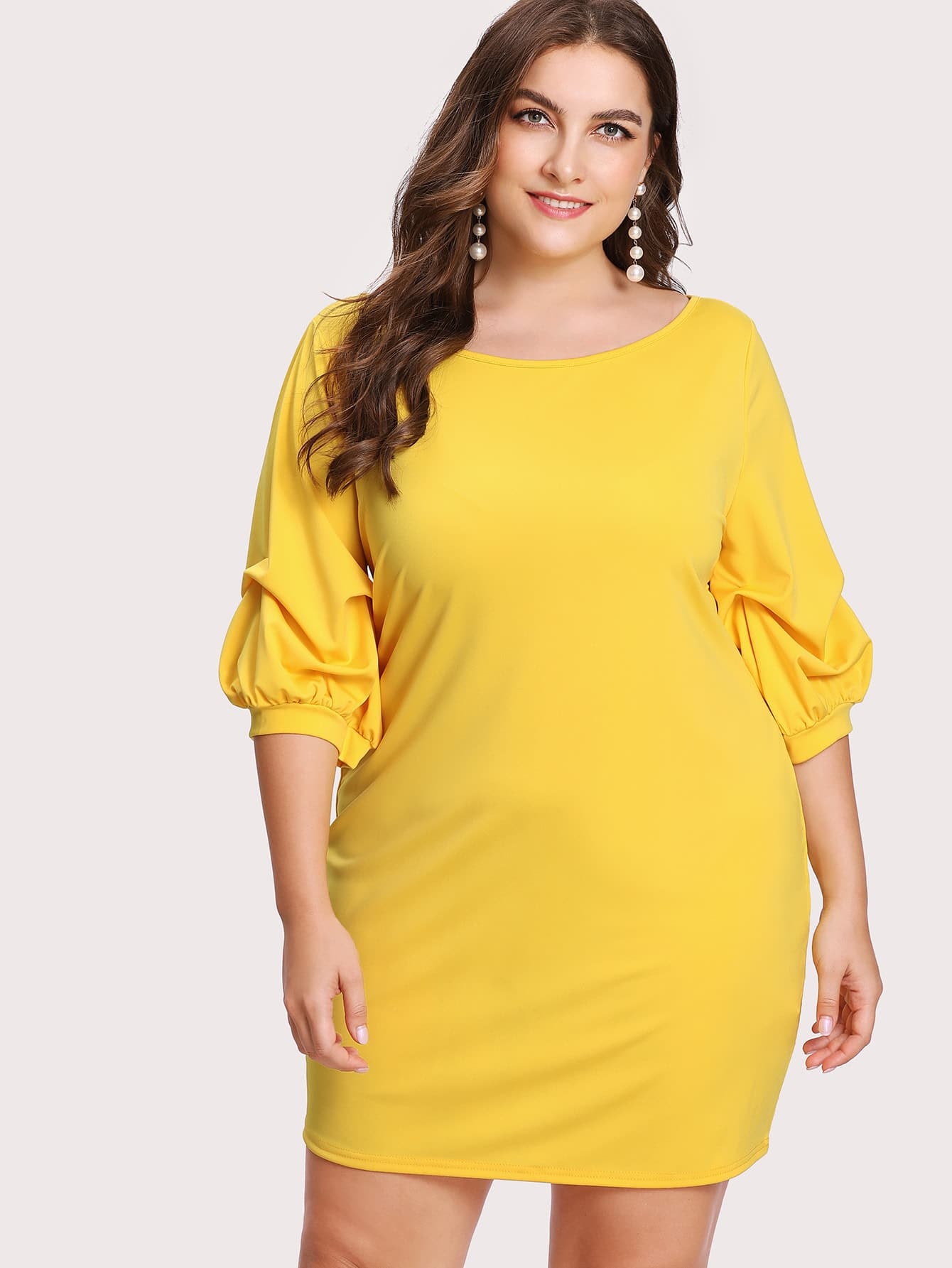 Bishop Gathered Sleeve Solid Dress