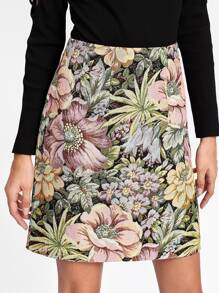 Zipper Back Jacquard Skirt