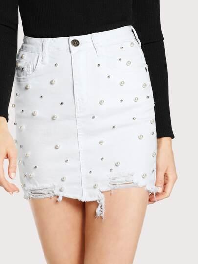 pearl accent distressed denim skirt denim shein sheinside