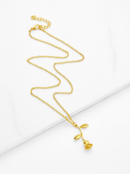 Metal Flower Pendant Chain Necklace
