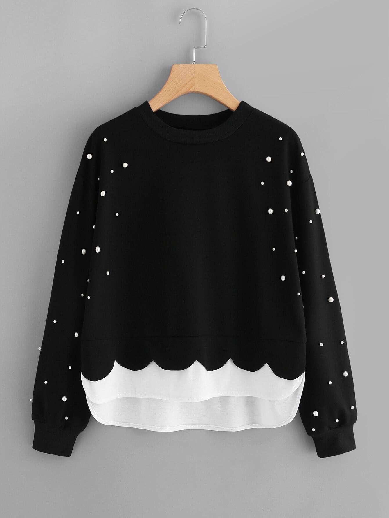2 In 1 Sweatshirt mit Perlen