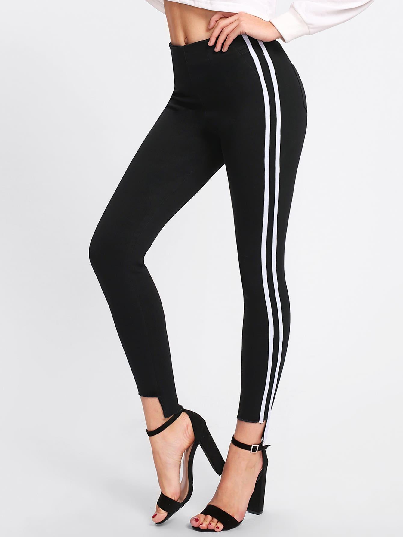Stripe Contrast Side Cut Out Hem Skinny Jeans