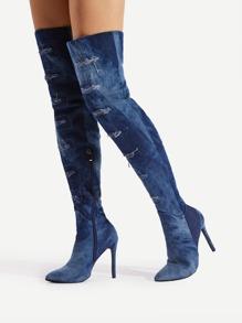 Ripped Design Stiletto Denim Boots