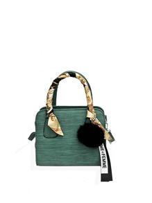 Wrap Scarf Satchel Bag With Pom
