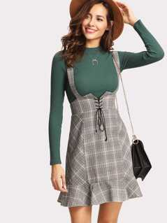 Lace Up Front Ruffle Hem Plaid Skirt