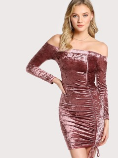 Off Shoulder Velvet Mini Dress MULBERRY
