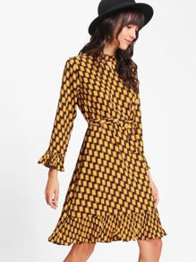 Ruffle Cuff And Hem Geo Dress