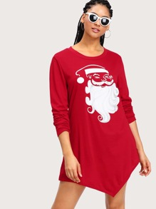 Santa Claus Print Pointed Hem Tee Dress