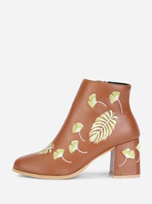 PU Leaf Embroidery Ankle Boots