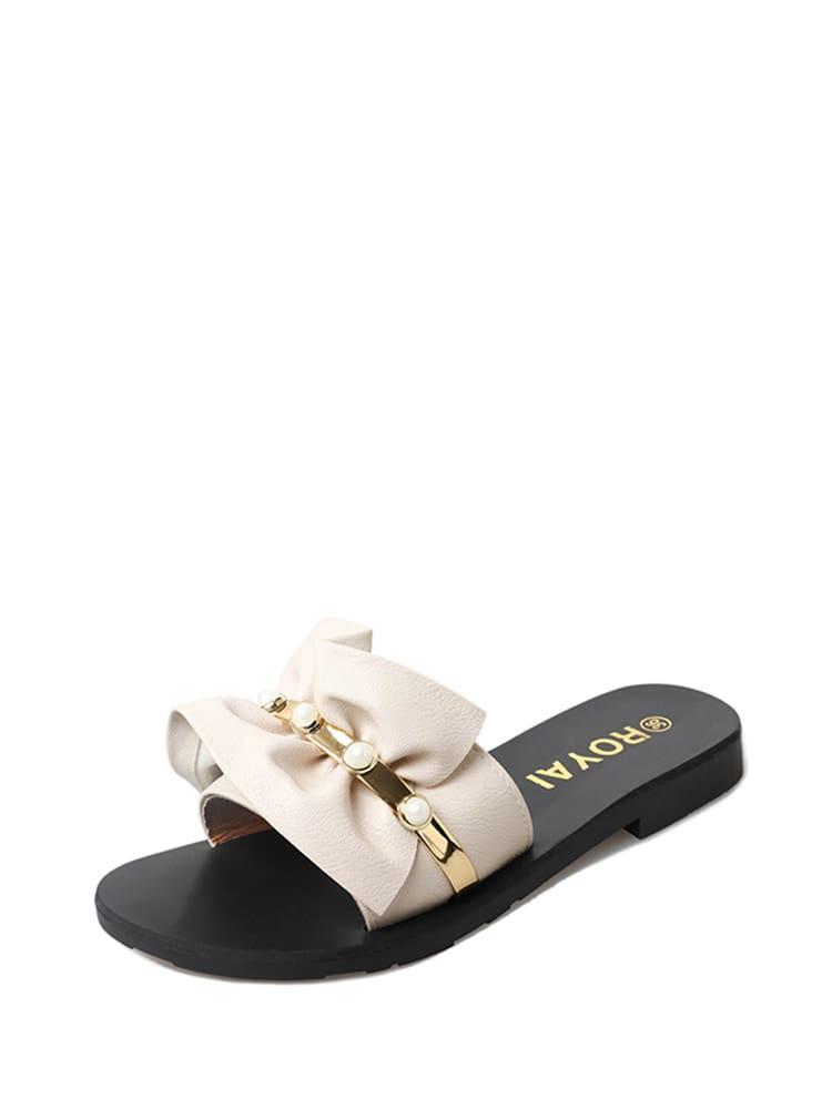 Faux Pearl Detail Ruffle Design PU Sandals