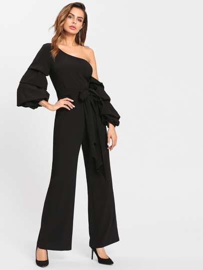 Gathered Sleeve Self Belted Asymmetric Shoulder Jumpsuit