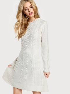 Cable Knit Long Sleeve Dress IVORY