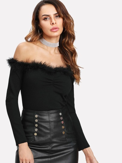 Faux Fur Trim Bardot Top